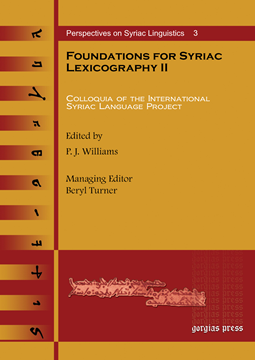 Picture of Foundations for Syriac Lexicography II